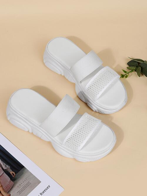 White Slide Sandals Hollow Open Toe Minimalist out Design Wedge Sandals Pretty