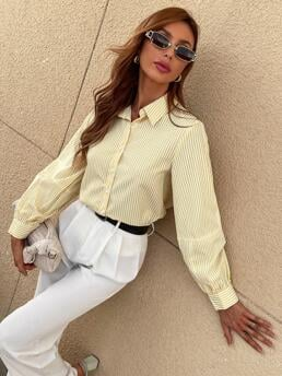 Long Sleeve Shirt Button Polyester Front Blouse Beautiful