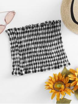 Boho Gingham Slim Fit Strapless Black and White Crop Length Gingham Shirring Bandeau Top