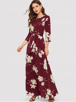 Modest A Line Floral Straight Regular Fit Round Neck Three Quarter Length Sleeve Natural Burgundy Maxi Length Floral Print Self Tie Maxi Dress with Belt