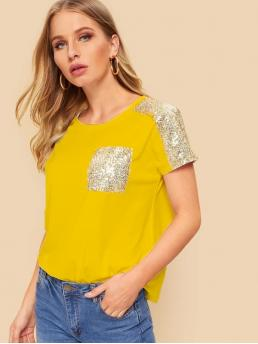 Casual Colorblock Regular Fit Round Neck Short Sleeve Pullovers Yellow and Bright Regular Length Sequin Shoulder & Pocket T-shirt