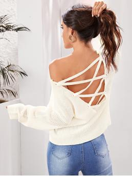 Sexy Plain Pullovers Regular Fit V neck Long Sleeve Pullovers Beige Regular Length Solid Lace Up Backless Sweater