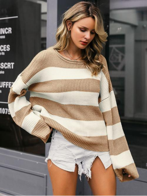 Casual Colorblock Pullovers Regular Fit Round Neck Long Sleeve Pullovers Multicolor Regular Length Simplee Color-block Drop Shoulder Sweater