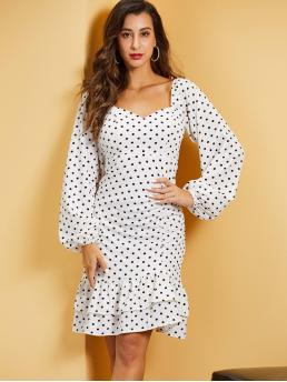 Elegant Fitted Polka Dot Layered/Tiered Regular Fit Sweetheart Long Sleeve Bishop Sleeve High Waist White Midi Length SBetro Sweetheart Neck Shirred Panel Lantern Sleeve Dress