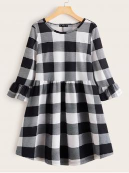 Casual A Line Gingham Straight Regular Fit Round Neck Three Quarter Length Sleeve High Waist Black and White Short Length Flounce Sleeve Buffalo Plaid Dress