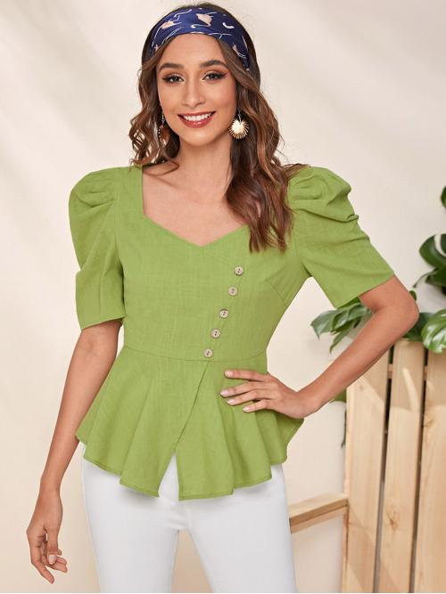 Elegant Plain Flared Peplum Regular Fit Sweetheart Short Sleeve Pullovers Green Regular Length Buttoned Front Puff Sleeve Peplum Top
