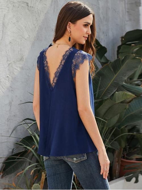 Womens Sleeveless Top Contrast Lace Polyester Lace Panel Wear both Sides Solid Blouse