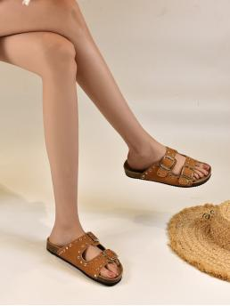 Yellow Footbedsandals Buckle Flat Studded & Decor Footbed Sandals Cheap