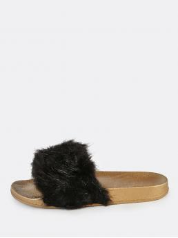 Casual Peep Toe Black Furry Metallic Sole Slides BLACK GOLD