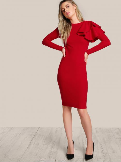 Glamorous Bodycon Plain Slim Fit Round Neck Long Sleeve Red Midi Length One Side Tiered Ruffle Bodycon Dress