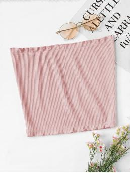 Casual Plain Slim Fit Strapless Pink Crop Length Frill Trim Ribbed Bandeau Top