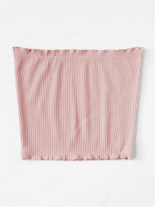 Long Sleeve Cami Frill Cotton Trim Ribbed Bandeau Top on Sale