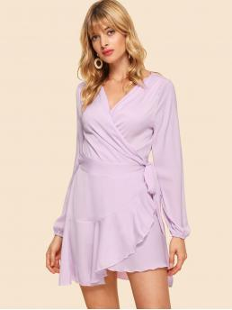 Boho A Line Plain Wrap V neck Long Sleeve Regular Sleeve Natural Purple Mini Length Surplice Wrap Ruffle Dress with Belt
