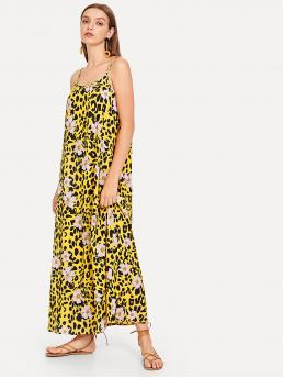 Boho Cami Floral and Leopard Straight Loose Spaghetti Strap Sleeveless Natural Multicolor Maxi Length Leopard and Flower Print Longline Dress