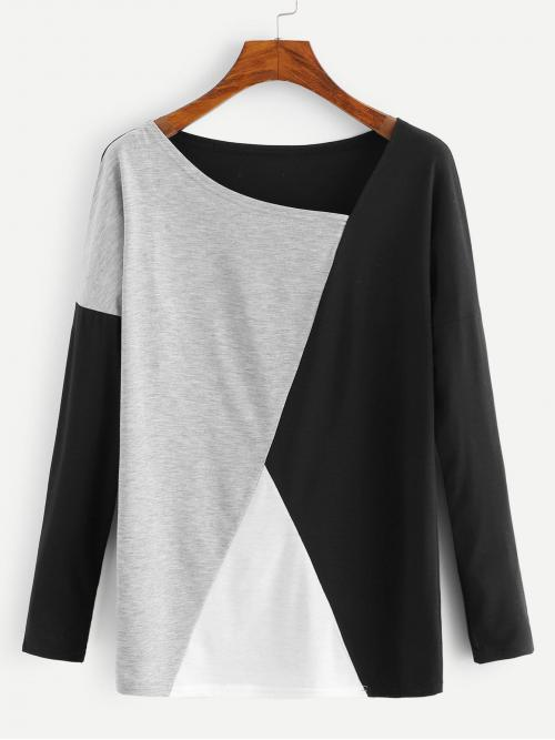 Long Sleeve Top Button Polyester Cut and Sew Panel Tee Ladies