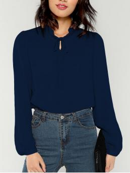 Elegant Plain Top Regular Fit Round Neck Long Sleeve Pullovers Navy Regular Length Tied Frill Neck Bishop Sleeve Top