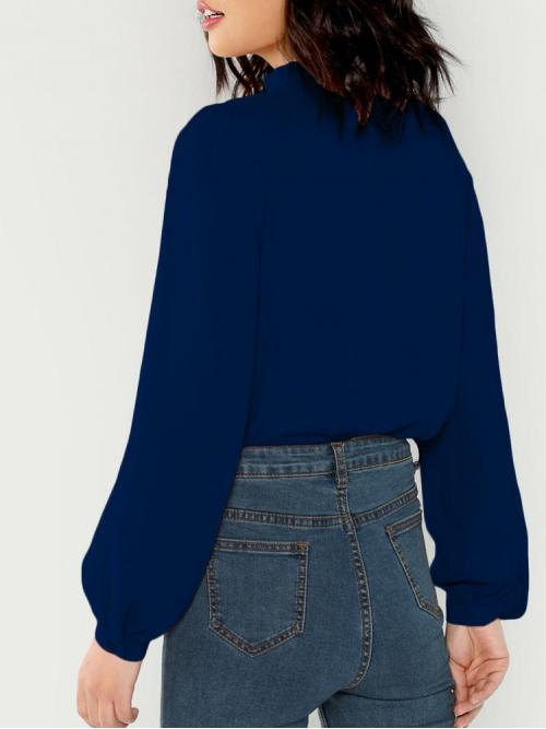 Affordable Long Sleeve Top Frill Polyester Tied Neck Top