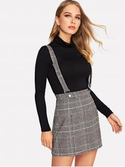 Preppy Pinafore Plaid and Houndstooth Mid Waist Grey Above Knee/Short Length Plaid Skirt with Adjustable Strap