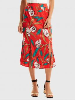 Boho Straight Floral and Animal Mid Waist Red Long/Full Length Lotus Print M-slit Skirt