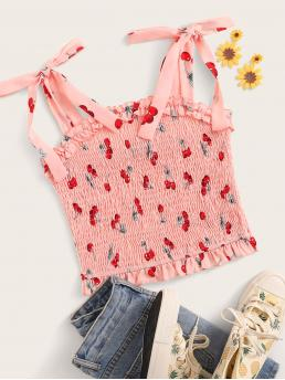 Cute and Boho Cami Fruit&Vegetable Slim Fit Straps Pink and Pastel Crop Length Cherry Print Shirred Tie Shoulder Top