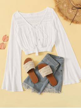 Casual Plain Top Regular Fit V neck Long Sleeve Pullovers White Crop Length Crochet Tie Neck Crop Blouse