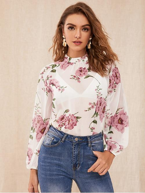 Sexy Floral Top Regular Fit Stand Collar Long Sleeve Bishop Sleeve Pullovers White Regular Length Floral Print Crinkle Front Raglan Sleeve Sheer Top Without Bra
