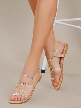Comfort Open Toe Nude Rhinestone PVC Straps Buckled Ankle Sandals
