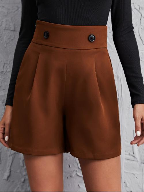Casual Wide Leg Plain Loose Zipper Fly High Waist Rust Brown Button Front Fold Pleated Shorts