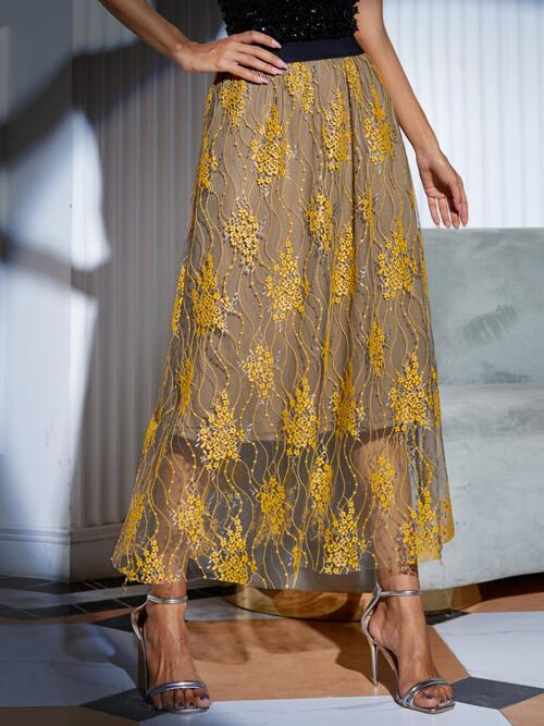 Pretty Yellow High Waist Embroidery Flared Overlay Flare Skirt