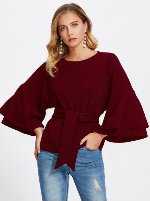 Sale Long Sleeve Top Tiered Layer Guipure Lace Tie Front Layered Trumpet Sleeve Textured Top