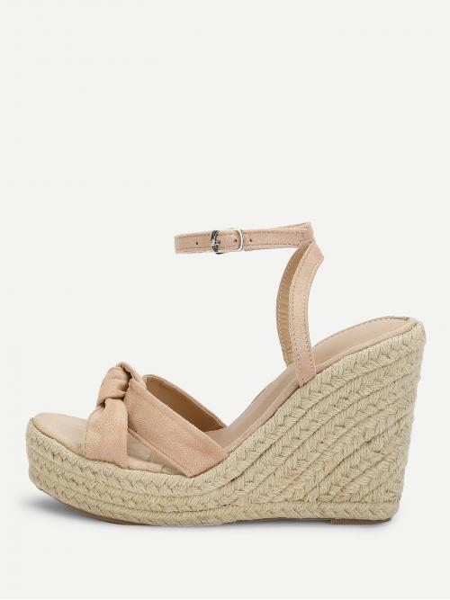 Corduroy Apricot Mules Knot Detail Espadrille Wedges on Sale