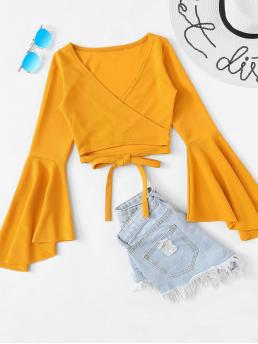 Young Sexy and Boho Plain Regular Fit V neck Long Sleeve Placket Ginger Crop Length Flounce Sleeve Self Tie Wrap Crop Top