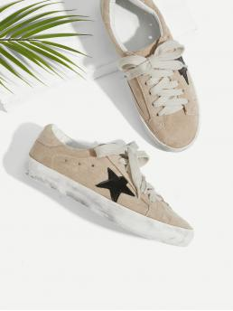 Comfort Round Toe Geometric Khaki Star Patch Lace Up Splice Sneakers