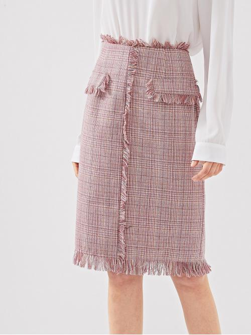 Elegant Straight Mid Waist Pink Midi Length Frayed Edge Tweed Skirt with Lining