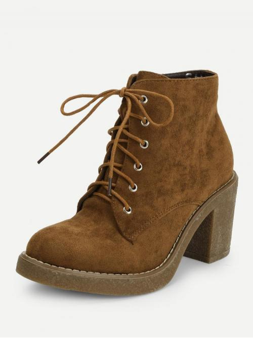 Women's Polyester Camel Mules Bow Lace-up Block Heeled