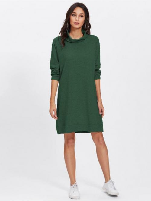 Army Green Plain Appliques High Neck Solid Affordable