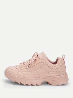 Comfort Round Toe Plain Lace Up Pink Lace-up Chunky Sole Sneakers