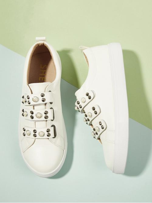 Corduroy Beige Skate Shoes Studded Faux Pearl and Decor Velcro Sneakers Beautiful