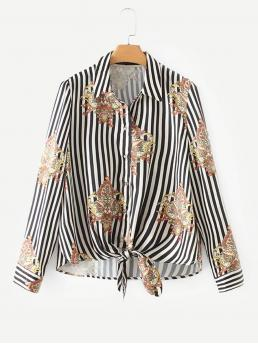 Casual Shirt Striped and Baroque Regular Fit Collar Long Sleeve Placket Black and White Regular Length Knot Hem Striped Blouse