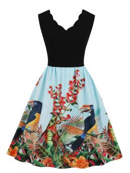 Vintage A Line Tropical and Animal Ball Gown Sleeveless Natural Multicolor Midi Length 50s Cut And Sew Floral Print Dress