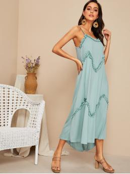 Boho Cami Plain Asymmetrical Loose Spaghetti Strap Sleeveless Drop Waist Blue and Pastel Maxi Length Solid Layered Frilled Trim Slip Dress