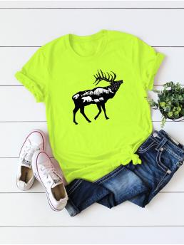 Casual Animal Regular Fit Round Neck Cap Sleeve Pullovers Green and Bright Regular Length Neon Lime Animal Print Tee