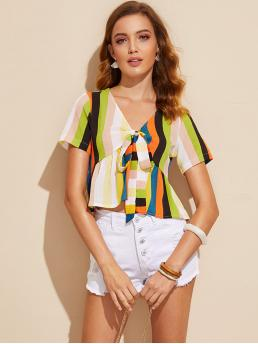 Boho Striped Flared Regular Fit V neck Short Sleeve Pullovers Multicolor Crop Length Geo Print Tie Front Ruffle Hem Blouse