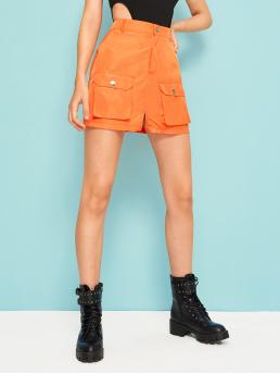 Casual Bodycon Plain Mid Waist Orange and Bright Above Knee/Short Length Flat Pockets Slit Neon Orange Cargo Skirt