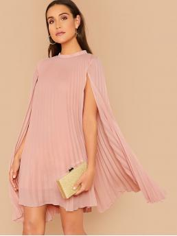 Romantic A Line Plain Pleated Loose Stand Collar Long Sleeve Cloak Sleeve Natural Pink and Pastel Short Length Mock Neck Pleated Cape Dress