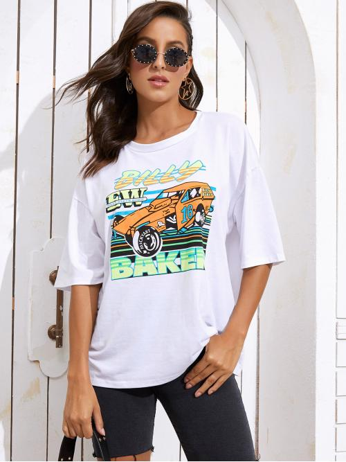 Casual Letter and Graphic Oversized Round Neck Three Quarter Length Sleeve Regular Sleeve Pullovers White Longline Length Car And Letter Graphic Oversized Tee