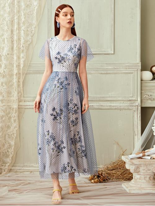 Romantic A Line Floral and Polka Dot Flared Regular Fit Round Neck Short Sleeve Butterfly Sleeve High Waist Blue Long Length Polka Dot Floral Print Mesh Overlay Dress with Lining