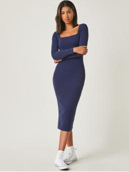 Navy Blue Plain Square Neck Long Solid Dress Clearance