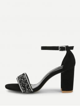 Ankle Strap Open Toe Ankle Strap Black High Heel Chunky Rhinestone Decorated Block Heeled Sandals