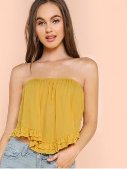 Boho Plain Regular Fit Strapless Yellow Flounce Bandeau Top